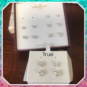 Seven Pairs of Cubic Zirconia Stud Earrings
